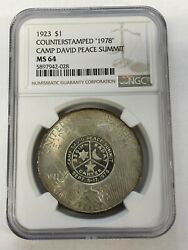 1923 1 Peace Dollar Ngc Ms 64 Counter Stamped 1978 Camp David Peace Summit
