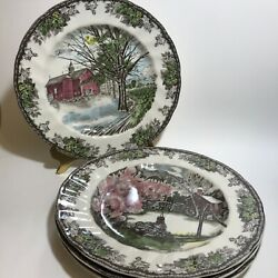 Johnson Brothers The Friendly Village Scenes 4 Dinner Plates England