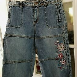 Vintage Size 16 Girland039s Jeans Nickelodeon Unfabulous Embroidered Flowers Sequins