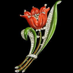 Trifari 'alfred Philippe' Pave And Enamel Giant Red Lily Pin Clip