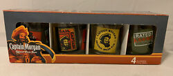 New In Box 4 Captain Morgan Born To Rum Short Bar Glass Tumblers Glasses To700