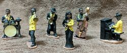 Mini Black Jazz Band 6 Figurines 1997 Young's Inc.dunee Original New About 2.5