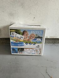 New Intex 8and039x24 Easy Set Round Inflatable Above Ground Pool With Filter Pump