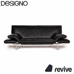 Designo Flyer Leather Sofa Black Two Seater Function Couch