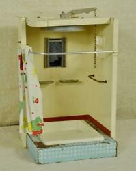 Charming Vintage French Dolland039s House Tin Shower Room With Working Shower 1950and039s