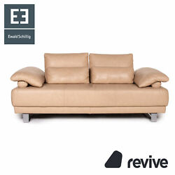 Ewald Schillig Leather Sofa Beige Two Seater Function Couch