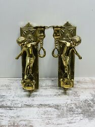 Vintage Solid Brass Cherub Candlestick Holders Wall Sconse Mint Free Ship