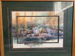 Adin Shade Falls At Rock Peek Watercolor Print Framed And Matted Heavy Glass