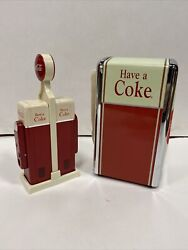 1990's Coca Cola Salt And Pepper Shakers With Coke Napkin Holder Free Shipping