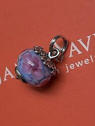 Retired James Avery Sterling Silver Spring Blossom Glass Art Finial Charm