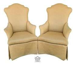 Pair Of Ferguson Copeland Umbria French Art Deco Dining Accent Armchairs