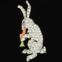 Jomaz Pave And Enamel Easter Bunny Rabbit Eating A Carrot Pin
