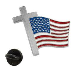 Religious Cross American Flag Metal Lapel Pins 36-pc July 4th Favors Gifts New