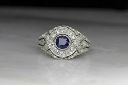 1930s Art Deco Sapphire And Diamond Cocktail Ring Size 5