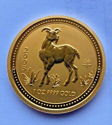 2003 Australia Year Of The Goat Coin 1 Oz 9999 Gold