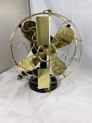 """Very Nice Fully Restored 12"""" Westinghouse Brass Blade And Cage Vane Fan"""
