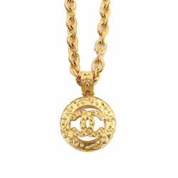 Round Type Coco Mark Necklace Gold 94a Vintage Accessory 90121753