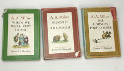 3 Books From Set A.a. Milne, 1961 Dutton And Co. Publisher Vintage + Book Jacket