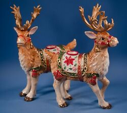 Fitz And Floyd Classics Father Christams Reindeer Candleholders Set Of 2 Retired