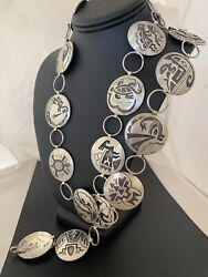 Mens Old Pawn Native American Sterling Silver Hopi Concho Belt 1426