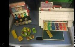 Vintage Fisher Price Little People Play Family School And1960and039s Fp Cash Register