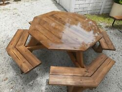 Octagon Outdoor Picnic Table Pine 2 Seats 8stain Seats And Epoxy Table Top
