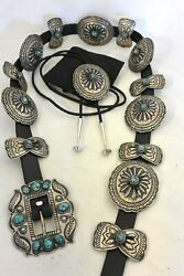 Gary Reeves Navajo Concho Belt And Bolo Tie W/gem Turquoise Sterling Silver Buckle