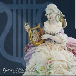 Porcelain Of Capodimonte. Lady With Lyre. Version Dress Lace Of Porcelain