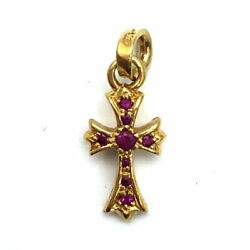 Chromehearts Chrome Hearts Baby Fat Cross Charm 22k Yg Yellow Gold After Pink