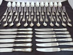 Christofle Marly Complete Table Dinner Set 12 Place Settings Vintage 48pcs