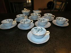 Vintage Homer Laughlin China Skytone Blue 8 Cups And Saucers Sugar And Creamer