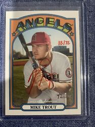 Mike Trout 2021 Topps Heritage Auto Roa-mt Real One Autographs Red Ink 33/72