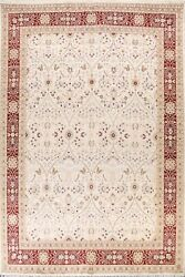 Ivory Floral Traditional Oriental Area Rug Hand-knotted Wool/ Silk 9x12 Carpet