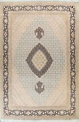 Geometric Traditional Oriental Area Rug Light Blue Hand-knotted Wool/ Silk 9x12