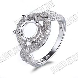 7.5mm Round Diamonds Semi Mount Antique Engagement Twisted Ring 14k White Gold