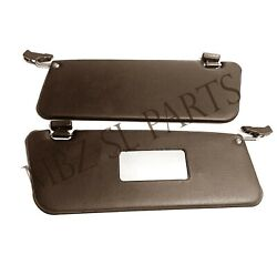 New Pair Of Brown Sun Visors Fits Mercedes Sl W107 380sl 450sl With Arms And Clips