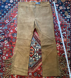 Polo Brown Suede Fringe Jeans 34x30   Rrl Rugby