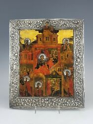 18c Russian Orthodox Silver Icon Birth Of Mother Of God