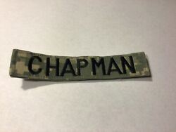 Acu Us Army Chapman Name Tape Patch Velcro® Brand Hook Fastener Euc