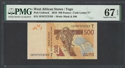West African 500 Francs 2019 Pnew Uncirculated Graded 67