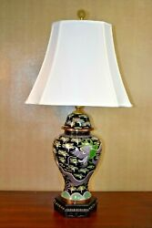 35 Chinese Vintage Cloisonne Early 20th Century Temple Jar Vase Lamp-asian