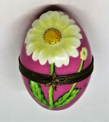 Limoges France Box Pink Easter Egg And Daisy Flowers Butterfly Decor Main