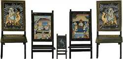Antique Mughal Art Rajasthani Handpainted Wooden Folding Chairs - Set Of 5