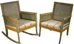 Mid Century Cane-back Tassel Fringe Rocking And Arm Chairs - A Pair