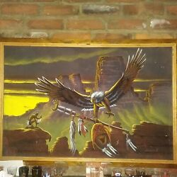 Vintage Felt Painting With Wooden Frame Native American Scene Huge Eagle Wow