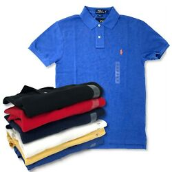 Polo Mens Short Sleeve Slim Fit Casual Lapel Shirt New Authentic