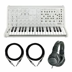 Korg White Ms-20 Fs Bundle With Mogami Ts Cables And Audio-technica Ath-m20x