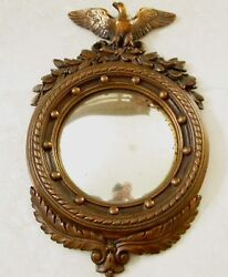 1800's Antique Armor Bronze Federal Eagle Wall Art Mirror With Frame 16''