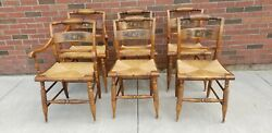 Set Of 6 Hitchcock Chairs Handpainted Gold Leaf Harvest Design Rush Seat In Ct