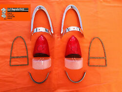 1955 Chevy Red Tail Light Chrome Bezel Kit 10 Pc W Usa Made Parts Best Set All